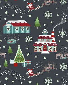 Patchwork Cotton Fabric - Lapland Glow Night Time