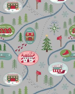 Christmas Patchwork Fabric - Santa Map Silver