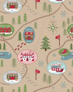 Christmas Patchwork Fabric - Santa Map Parchment