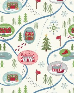 Christmas Patchwork Fabric - Santa Map Snow