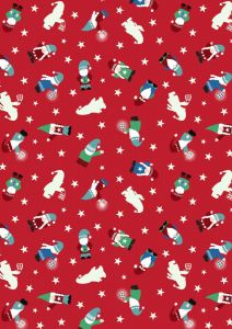 Christmas Patchwork Fabric - Hygge Glow - Mini Tomte Red