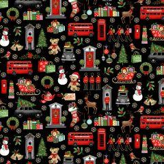 Christmas Patchwork Fabric - London Christmas - Christmas Icons Black