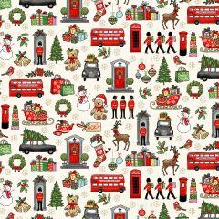 Christmas Patchwork Fabric - London Christmas - Christmas Icons Cream