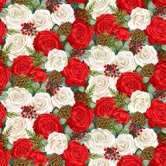 Christmas Patchwork Fabric - Classic Foliage - Christmas Rose