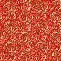 Christmas Patchwork Fabric - Classic Foliage - Decorative Scroll Red