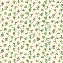 Christmas Patchwork Fabric - Classic Foliage - Holly Spray Ivory