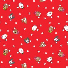 Christmas Patchwork Fabric - Yappy Christmas - Dogs Heads Red