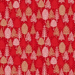 Christmas Patchwork Fabric - Scandi Christmas - Trees Red