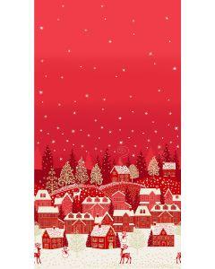 Christmas Patchwork Fabric - Scandi Christmas - Scenic Border Red