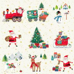 Christmas Patchwork Fabric - Santa Express - Placement