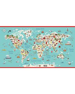 Patchwork Cotton Fabric - Around the World - 60cm World Map Panel
