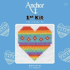 Anchor 1st Kit - Cross Stitch - Rainbow Heart