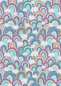 Patchwork Cotton Fabric - Over the Rainbow - Rainbow Clouds