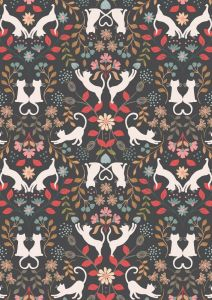 Patchwork Cotton Fabric - Purrfect Petals - Love Cats