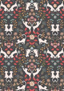 Patchwork Cotton Fabric - Purrfect Petals - Love Cats
