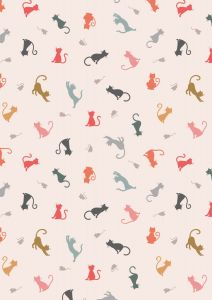 Patchwork Cotton Fabric - Purrfect Petals - Cat & Mouse