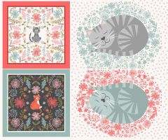Patchwork Cotton Fabric - Purrfect Petals - Cushion Panel