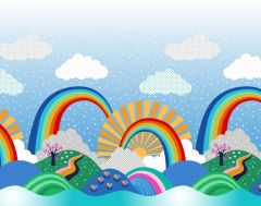 Patchwork Cotton Fabric - Over the Rainbow - Border