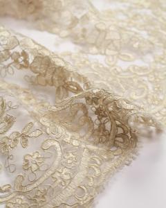 Alençon Lace Fabric - Parchment