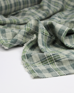 Baronto Linen Blend Fabric - Forest Check