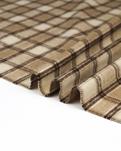 Brushed Coating Fabric - Fell Plaid in Cookie