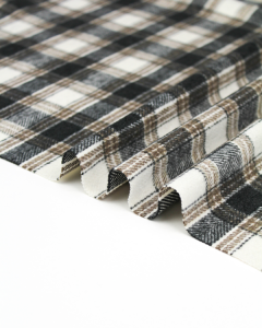 Brushed Coating Fabric - Fell Plaid in Storm