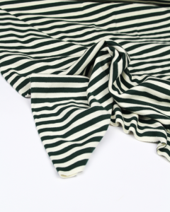 Brushed Jersey Fabric - Forest Green Stripe