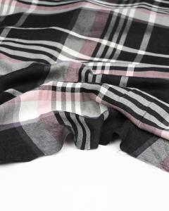 Brushed Viscose Twill Fabric - Como Check Rose