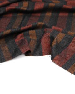 Brushed Viscose Twill Fabric - Como Stripe Brick