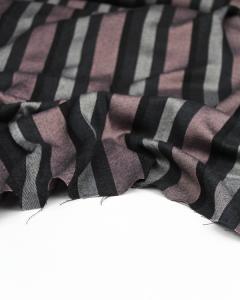 Brushed Viscose Twill Fabric - Como Stripe Rose