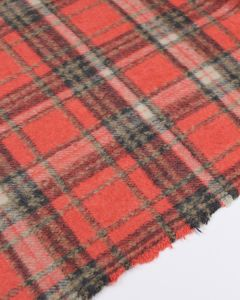 Brushed Coating Fabric - Coral Plaid