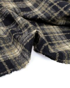 Brushed Coating Fabric - Navy Plaid