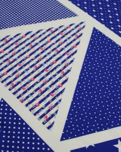 Printed Bunting Fabric Panel - Blue Mix