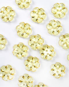 Button - Crystal Daisy Yellow - 24mm
