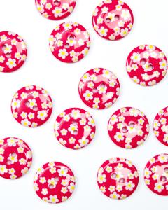 Button - Dora Daisy Raspberry - 23mm
