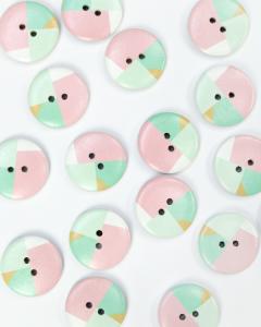Button - Pastel Polygon - 25mm