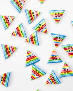 Button - Stripey Triangle - Rainbow - 20mm