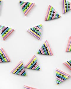 Button - Stripey Triangle - Allsorts - 20mm