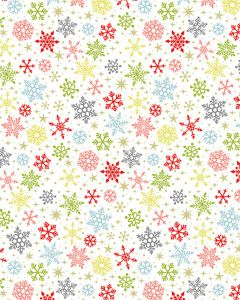 Patchwork Cotton Fabric - Candy Snowflakes