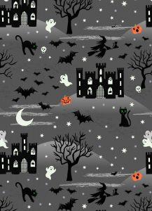 Patchwork Cotton Fabric - Castle Spooky - Castle Spooky Grey