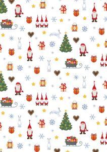 Patchwork Christmas Fabric - Festive Tomten Ivory