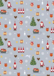 Patchwork Christmas Fabric - Festive Tomten Grey