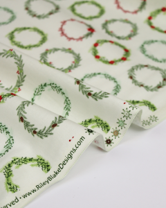 Christmas Patchwork Fabric - Comfort & Joy - Festive Wreaths