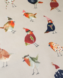 Christmas Oilcloth Fabric - Cosy Robins