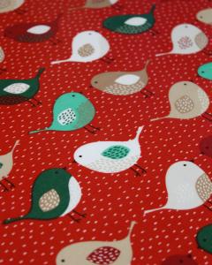Christmas Oilcloth Fabric - Festive Robins