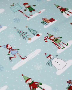 Christmas Oilcloth Fabric - Frosty Elves