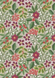 Christmas Patchwork Fabric - Noel - Berry Bouquet Natural
