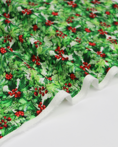 Christmas Patchwork Fabric - Poinsettia Winter - Holly Bush