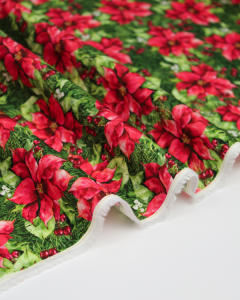 Christmas Patchwork Fabric - Poinsettia Winter - Poinsettia