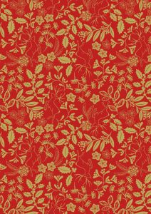 Christmas Patchwork Fabric - Noel - Reindeer Floral Red
